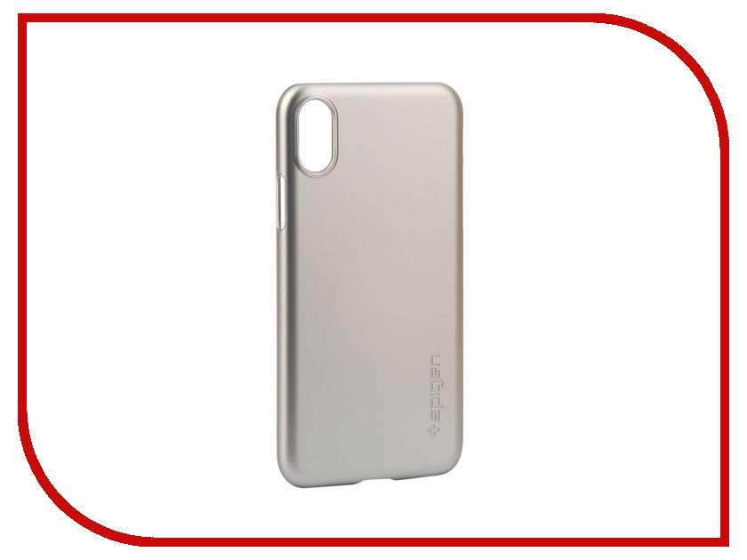 Аксессуар Клип-кейс Spigen Thin Fit для APPLE iPhone X Silver 057CS22113 аксессуар чехол spigen thin fit для apple iphone 7 black 042cs20427
