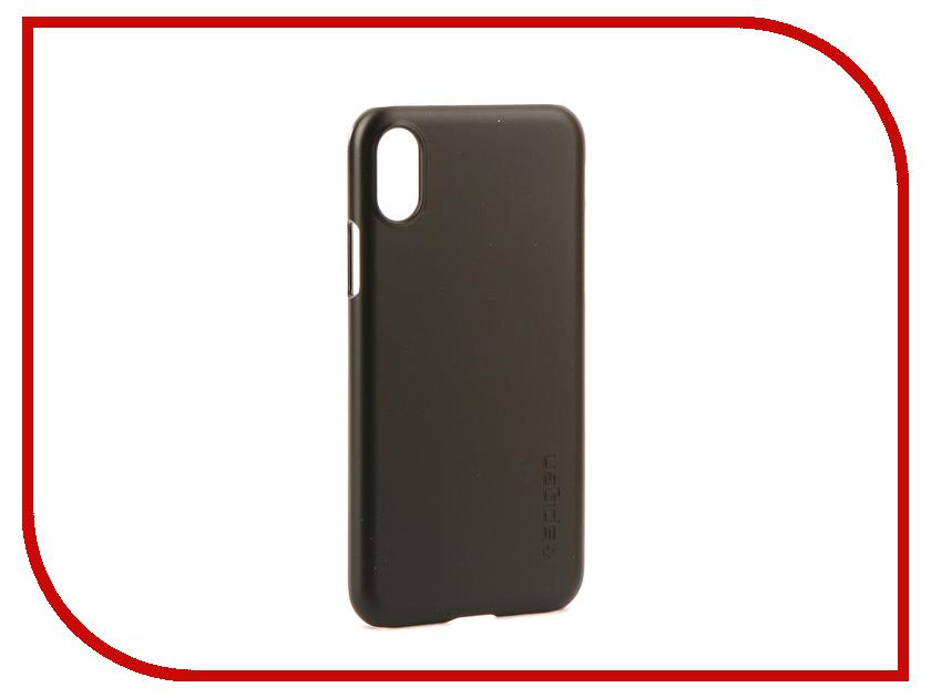 Аксессуар Чехол Spigen Case Thin Fit для APPLE iPhone X Matte Black 057CS22108 аксессуар чехол apple iphone se leather case red mr622zm a