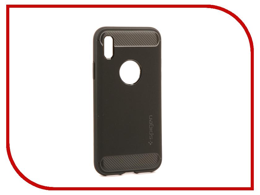 Аксессуар Чехол Spigen Rugged Armor для APPLE iPhone X Matte Black 057CS22125 spigen hybrid armor 042cs20840 чехол для iphone 7 black onix