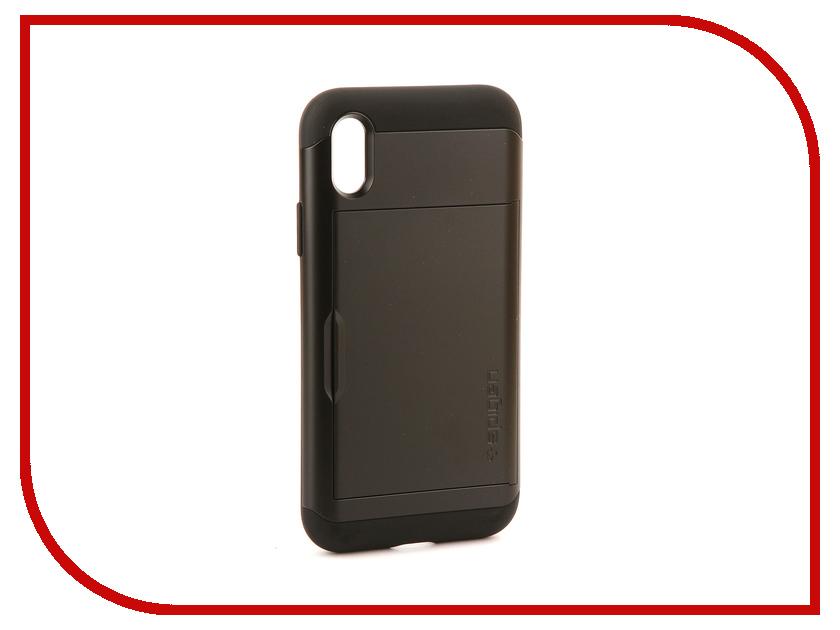Аксессуар Чехол Spigen Slim Armor CS для APPLE iPhone X Black 057CS22155 spigen hybrid armor 042cs20840 чехол для iphone 7 black onix