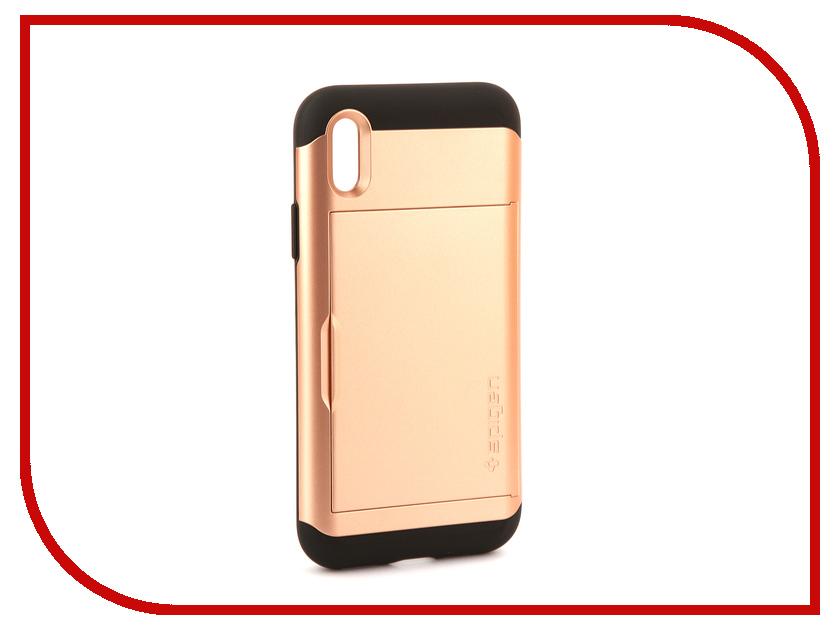 Аксессуар Чехол Spigen Slim Armor CS для APPLE iPhone X Gold 057CS22157 spigen hybrid armor 042cs20840 чехол для iphone 7 black onix