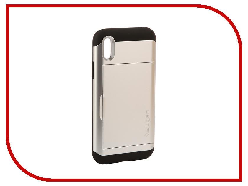 Аксессуар Чехол Spigen Slim Armor CS для APPLE iPhone X Silver 057CS22158 spigen hybrid armor 042cs20840 чехол для iphone 7 black onix