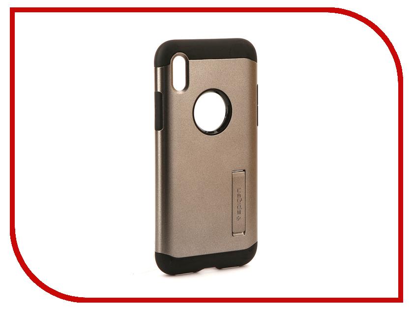Аксессуар Чехол Spigen Slim Armor для APPLE iPhone X Steel 057CS22135 чехол накладка чехол накладка iphone 6 6s 4 7 lims sgp spigen стиль 1 580075