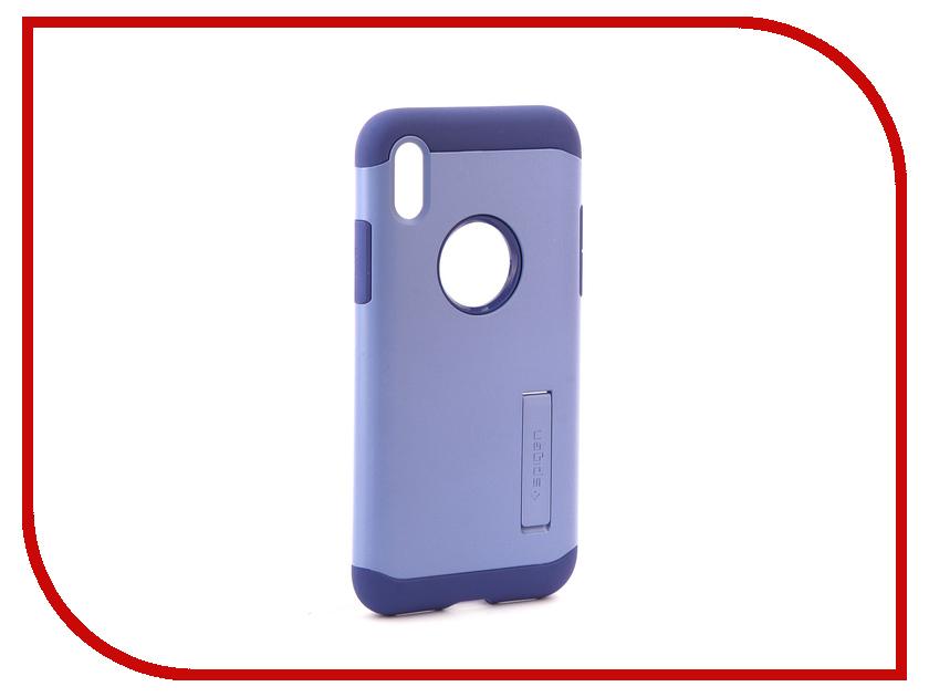 Аксессуар Чехол Spigen Slim Armor для APPLE iPhone X Violet 057CS22137 spigen hybrid armor 042cs20840 чехол для iphone 7 black onix