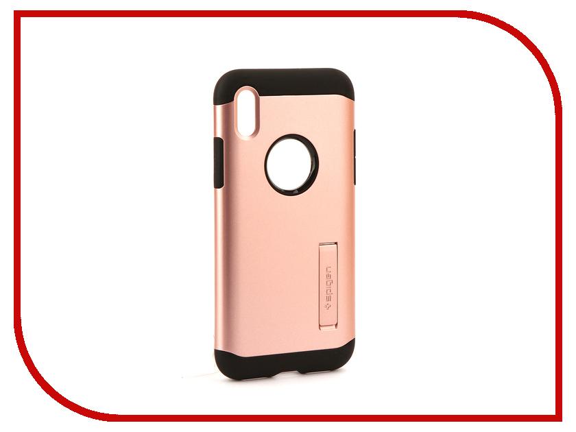 Аксессуар Чехол Spigen Slim Armor для APPLE iPhone X Pink-Gold 057CS22139 spigen hybrid armor 042cs20840 чехол для iphone 7 black onix