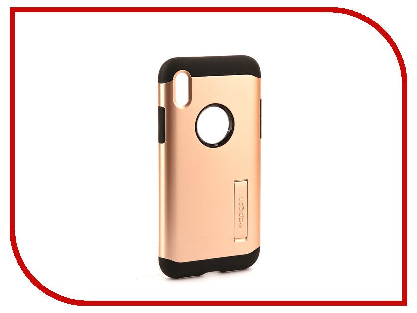 Аксессуар Чехол Spigen Slim Armor для APPLE iPhone X Gold 057CS22140 spigen hybrid armor 042cs20840 чехол для iphone 7 black onix