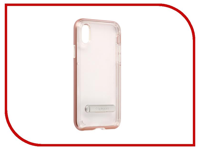 Аксессуар Чехол Spigen Crystal Hybrid для APPLE iPhone X Pink-Gold 057CS22146