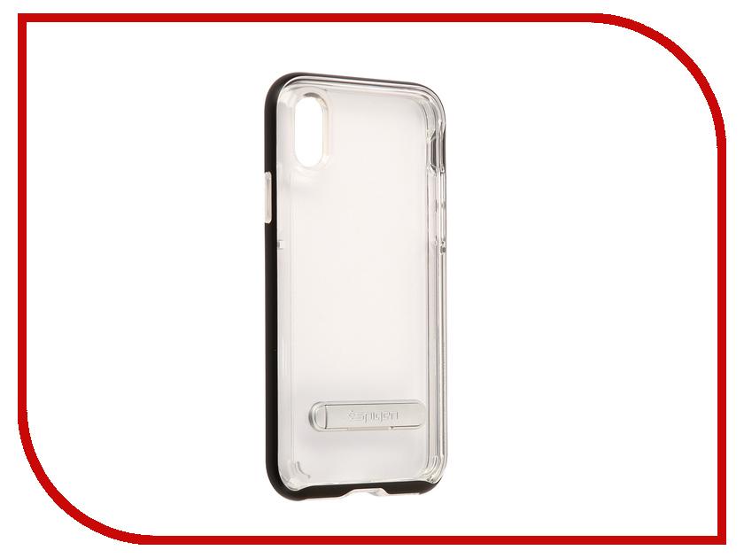 Аксессуар Чехол Spigen Crystal Hybrid для APPLE iPhone X Black 057CS22147 spigen hybrid armor 042cs20840 чехол для iphone 7 black onix