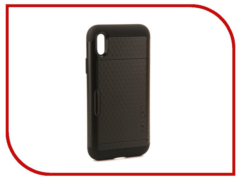Аксессуар Чехол Spigen Crystal Wallet для APPLE iPhone X Black 057CS22151 аксессуар чехол spigen thin fit для apple iphone 7 black 042cs20427