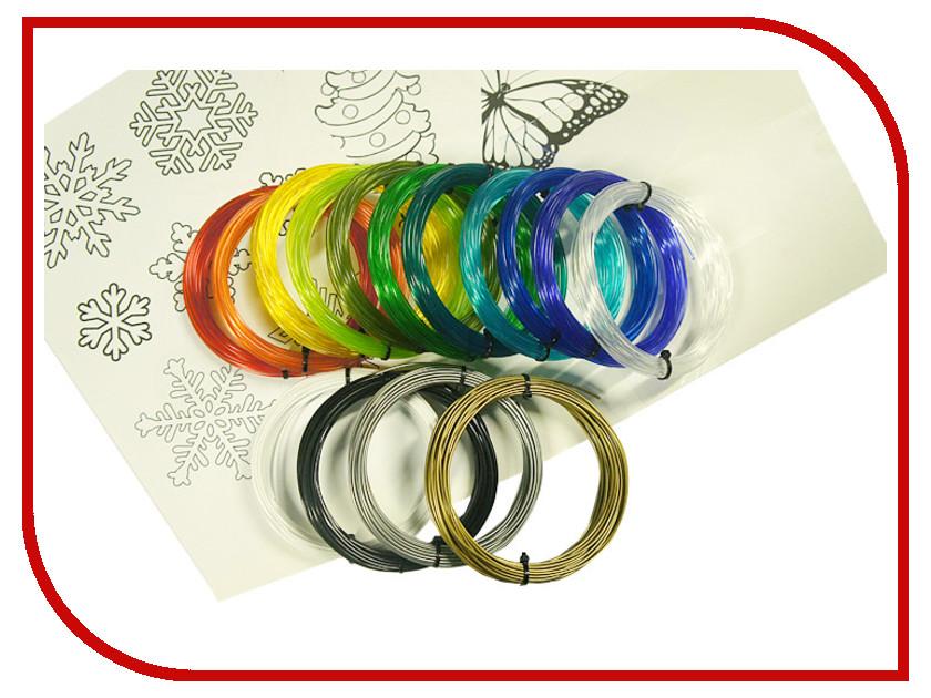 Аксессуар Filamentarno! SBS-пластик 1.75mm набор из 15 цветов по 10m + 3 трафарета