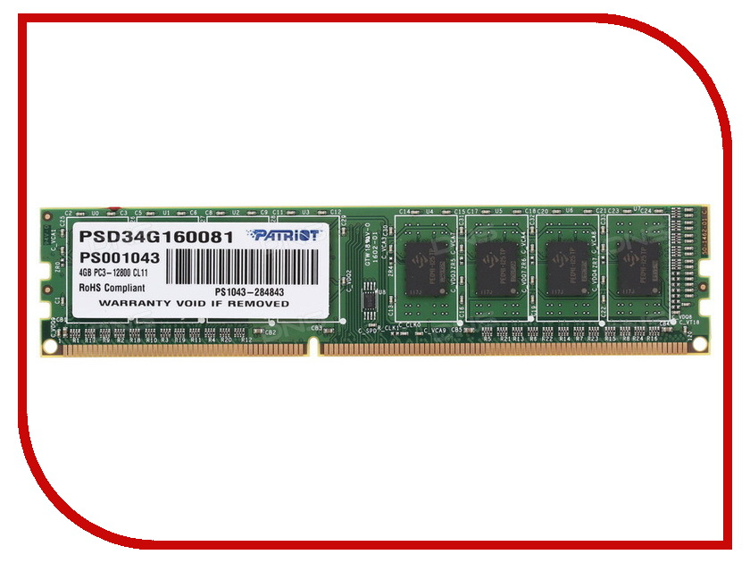 Модуль памяти Patriot Memory DDR3 DIMM 1600Mhz PC3-12800 CL11 - 4Gb PSD34G160081 patriot memory psd48g21332