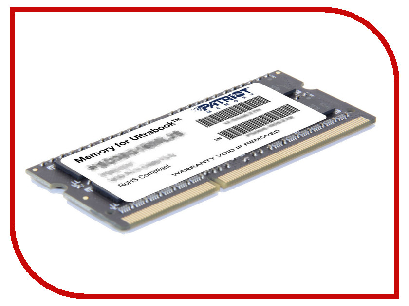 Модуль памяти Patriot Memory DDR3L SO-DIMM 1600Mhz PC3-12800 CL11 - 4Gb PSD34G1600L2S модуль памяти patriot memory ddr3l so dimm 1600mhz pc3 12800 cl11 2gb psd32g1600l2s