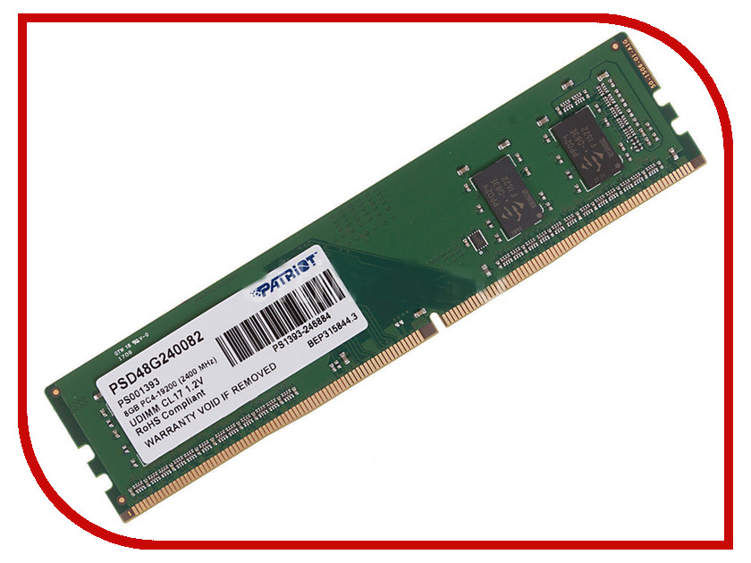 Модуль памяти Patriot Memory DDR4 DIMM 2400MHz PC4-19200 CL17 - 8Gb PSD48G240082 модуль памяти patriot memory ddr4 so dimm 2400mhz pc4 19200 cl17 4gb psd44g240041s