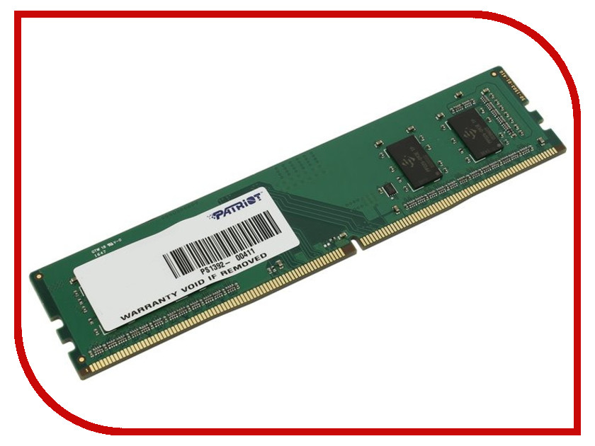 Модуль памяти Patriot Memory DDR4 DIMM 2133MHz PC4-17000 CL15 - 4Gb PSD44G213382 модуль памяти patriot memory ddr4 so dimm 2400mhz pc4 19200 cl17 4gb psd44g240041s