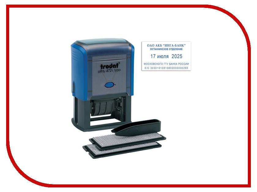 Датер самонаборный Trodat 4729 50x30mm Blue 235552 датер trodat самонаборный металлический 2стр 4мм 1 касса