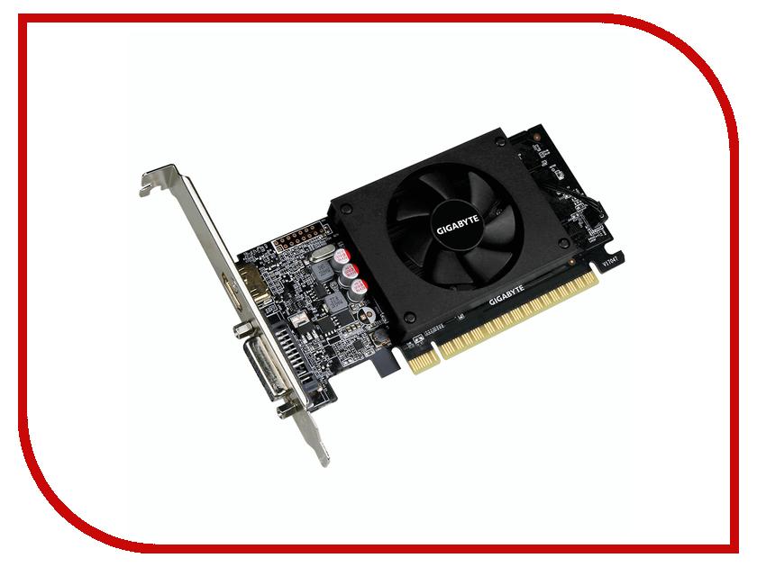 Видеокарта GigaByte GeForce GT 710 954Mhz PCI-E 2.0 2048Mb 5010Mhz 64 bit DVI HDMI HDCP Low Profile GV-N710D5-2GL