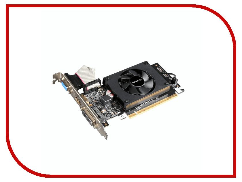 Видеокарта GigaByte GeForce GT 710 954Mhz PCI-E 2.0 1024Mb 1800Mhz 64 bit DVI HDMI HDCP GV-N710D3-1GL видеокарта 6144mb msi geforce gtx 1060 gaming x 6g pci e 192bit gddr5 dvi hdmi dp hdcp retail