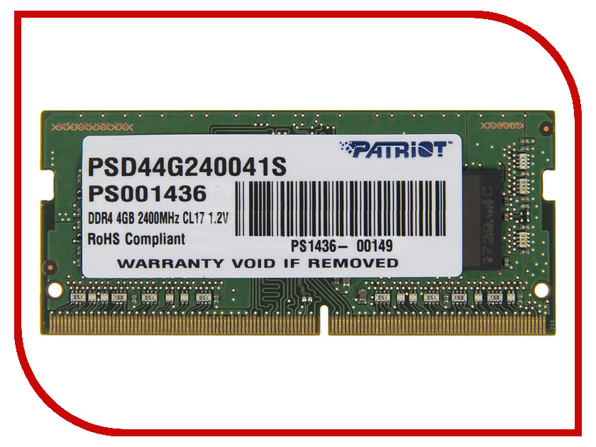 Модуль памяти Patriot Memory DDR4 SO-DIMM 2400MHz PC4-19200 CL17 - 4Gb PSD44G240041S электропила patriot es2216