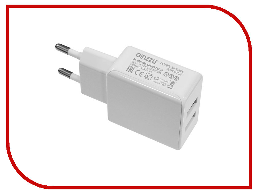 Зарядное устройство Ginzzu 2xUSB 3.1A White GA-3311UW