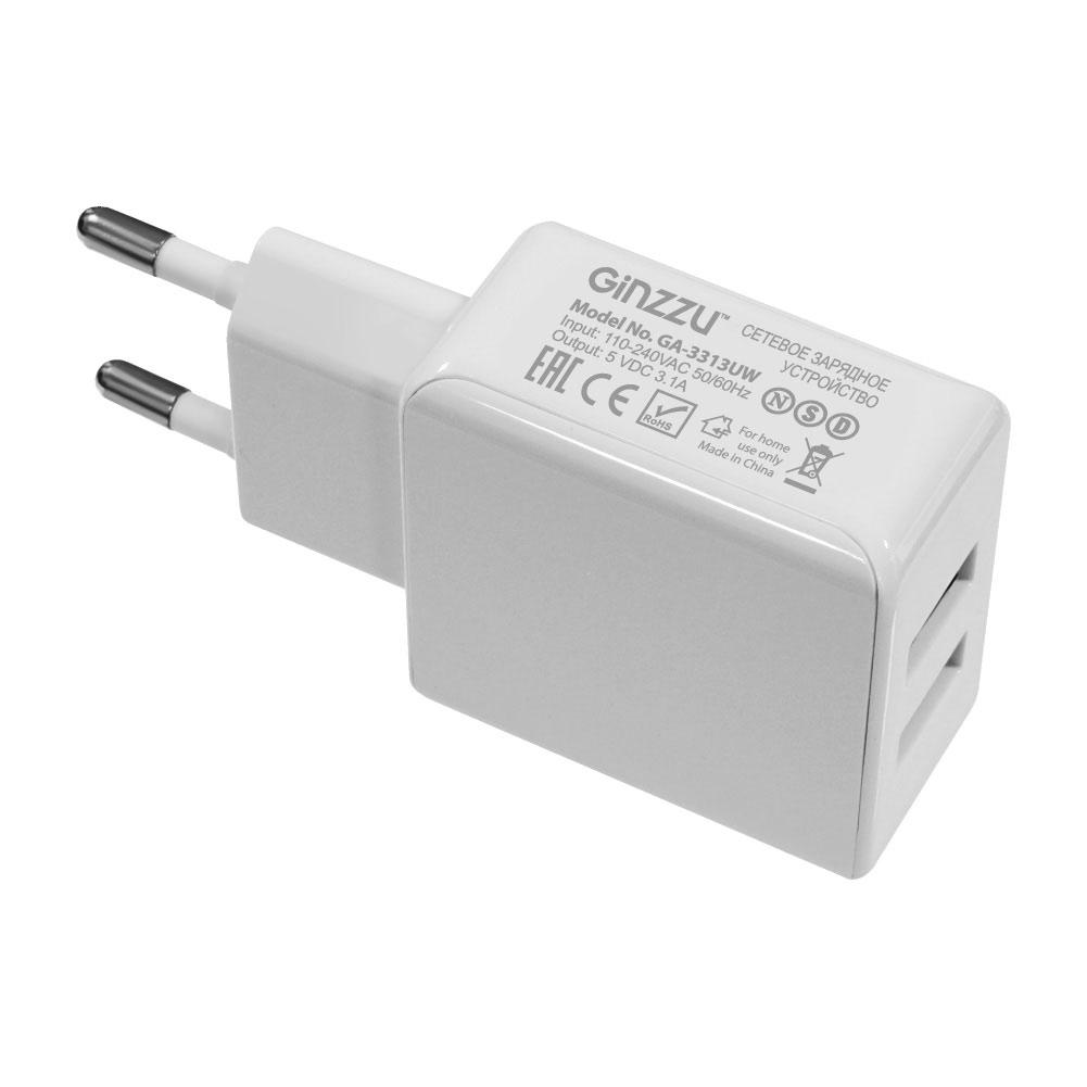 Зарядное устройство Ginzzu 2xUSB 3.1A White GA-3311UW зарядное устройство ginzzu 4xusb 6a ga 4430ub