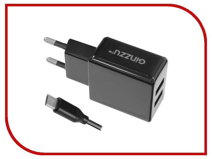 Зарядное устройство Ginzzu 2xUSB 3.1A Black + кабель micro-USB 1.0m GA-3312UB