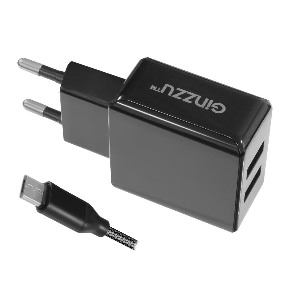 Зарядное устройство Ginzzu 2xUSB 3.1A Black + кабель micro-USB 1.0m GA-3312UB сетевое зарядное устройство ginzzu ga 3003b usb 1 2a черный
