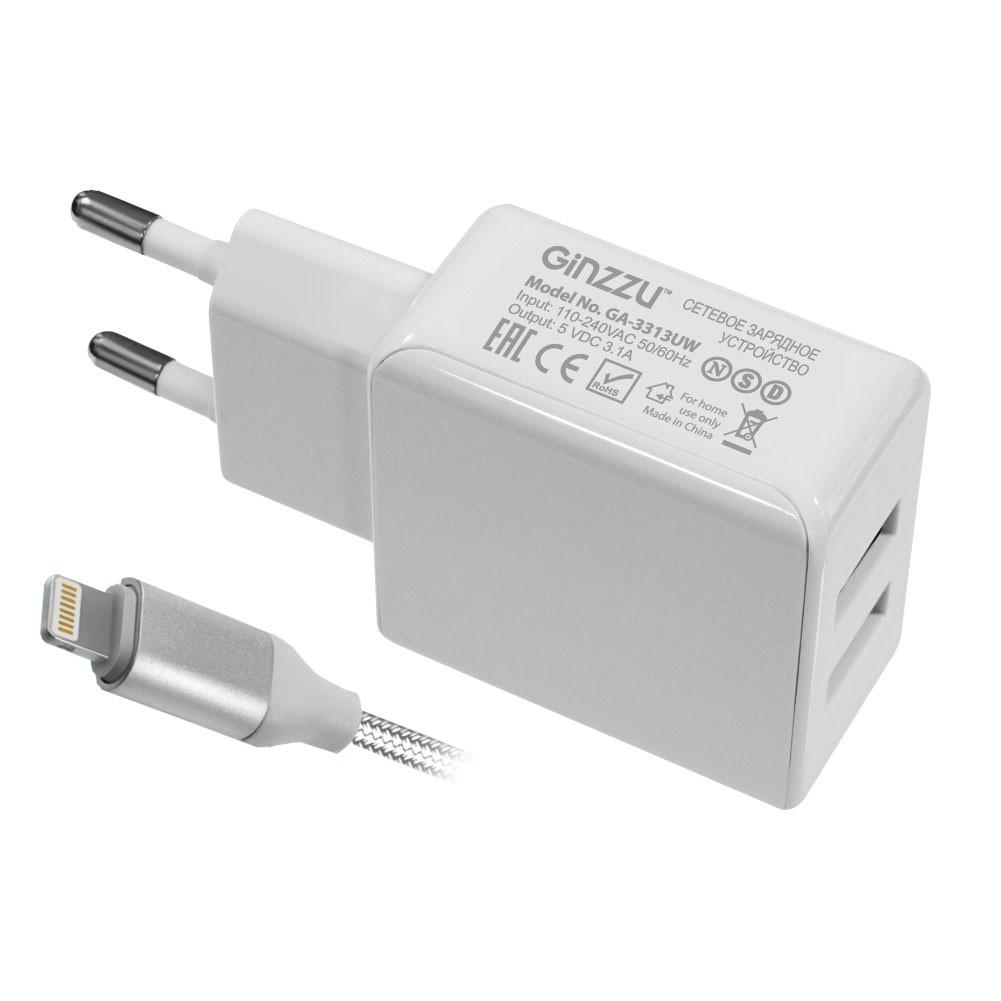 Зарядное устройство Ginzzu 2xUSB 3.1A White + кабель 8-pin 1.0m GA-3313UW сетевое зарядное устройство ginzzu ga 3003b usb 1 2a черный