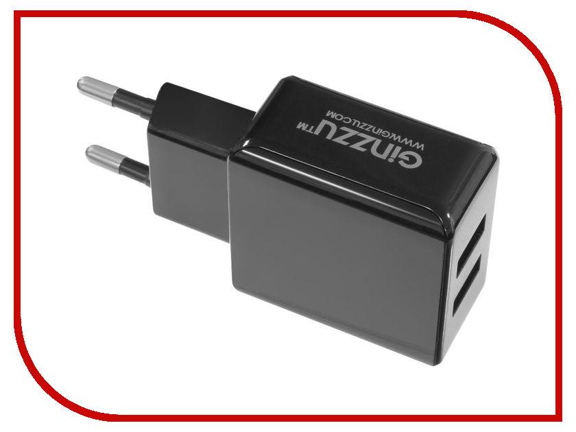 Зарядное устройство Ginzzu 2xUSB 3.1A Black + кабель Type-C 1.0m GA-3314UB