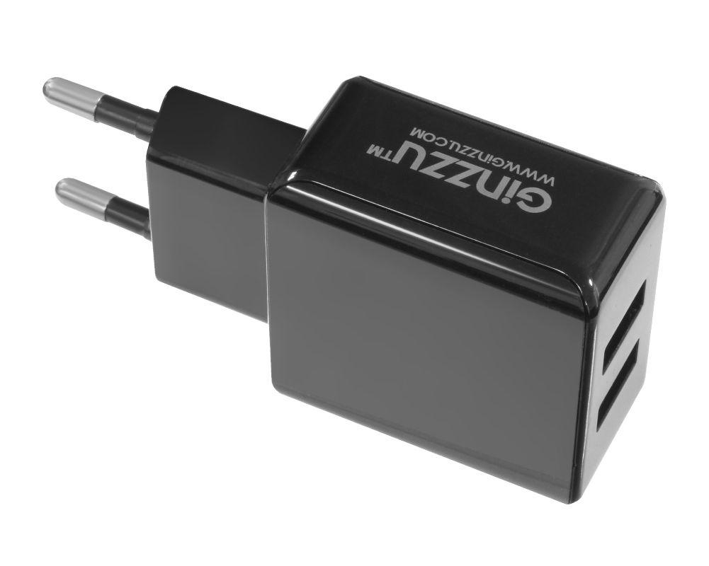 купить Зарядное устройство Ginzzu 2xUSB 3.1A Black + кабель Type-C 1.0m GA-3314UB по цене 614 рублей