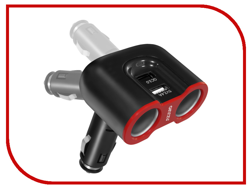 Зарядное устройство Ginzzu + разветвитель GA-4815UB Black m103 dual ginzzu