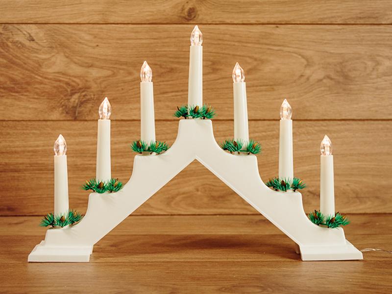 Светящееся украшение Neon-Night Новогодняя горка White 7 свечек LED Warm White 501-081 светящееся украшение star trading горка рождественская sanna 5 red 200 85