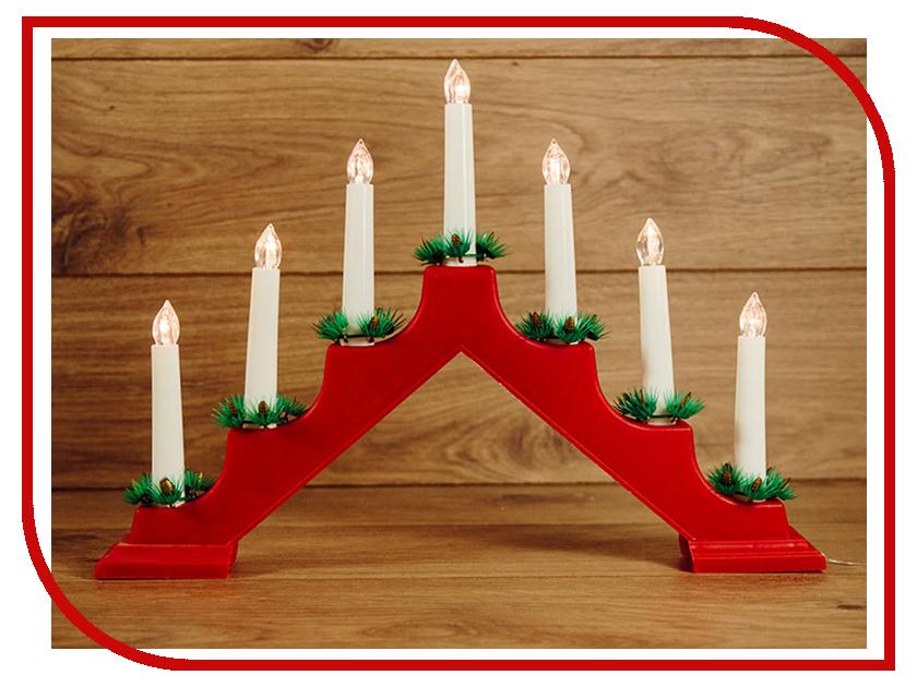 Светящееся украшение Neon-Night Новогодняя горка Red 7 свечек LED Warm White 501-082