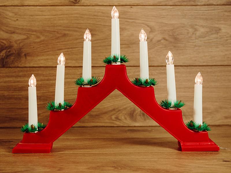 Светящееся украшение Neon-Night Новогодняя горка Red 7 свечек LED Warm White 501-082 светящееся украшение star trading горка рождественская sanna 5 red 200 85