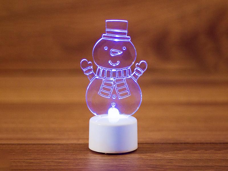 Игрушка Neon-Night Снеговик с шарфом 2D 10cm LED RGB 501-053