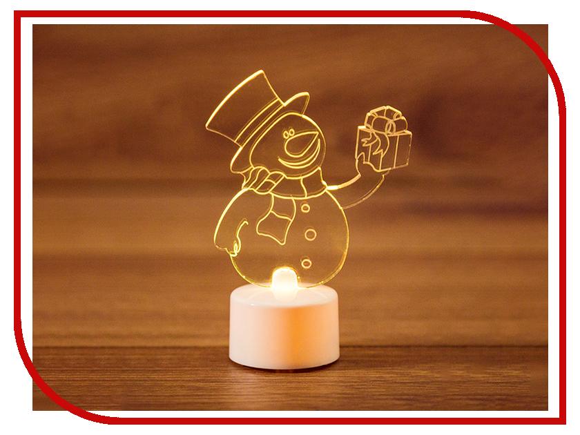 Новогодний сувенир Neon-Night Снеговик с подарком 2D 10cm LED RGB 501-054 новогодний сувенир luazon снеговик с лопатой white 676330