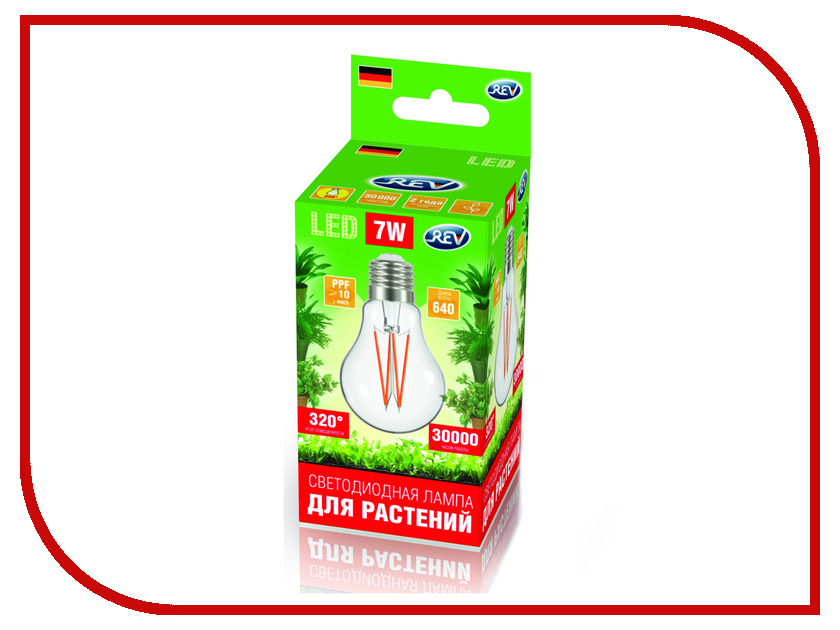 Светодиодная фитолампа Rev LED А60 E27 7W FILAMENT 575-650Нм PPF>10 32416 4