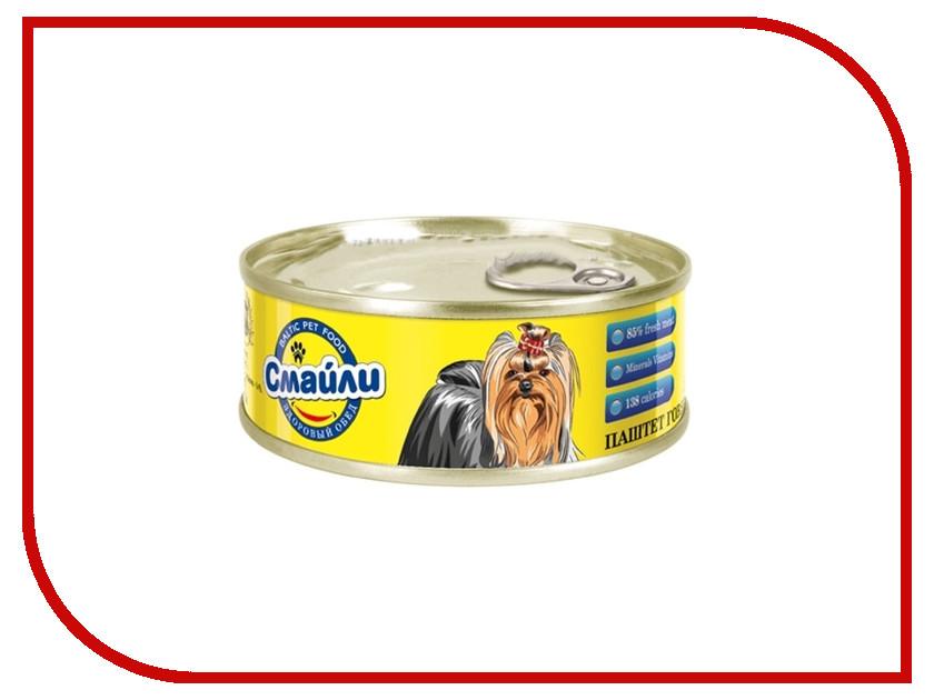 Корм Смайли Паштет Говядина с овощами 100g для собак 81058