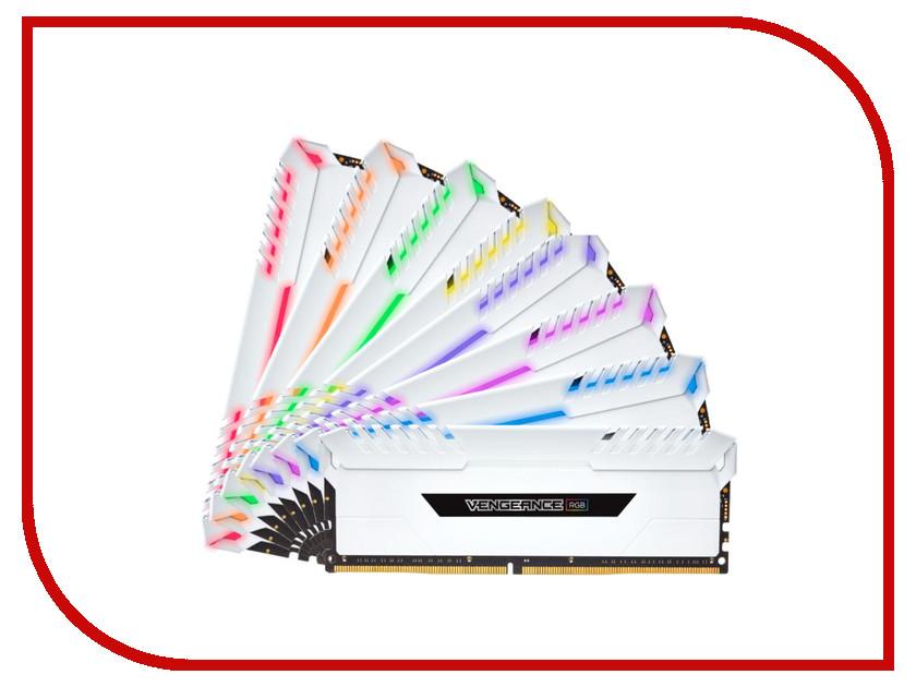 Модуль памяти Corsair Vengeance RGB White DDR4 DIMM 3000MHz PC4-24000 CL16 - 128Gb KIT (8x16Gb) CMR128GX4M8C3000C16W корпус corsair obsidian series 350d window cc 9011029 ww