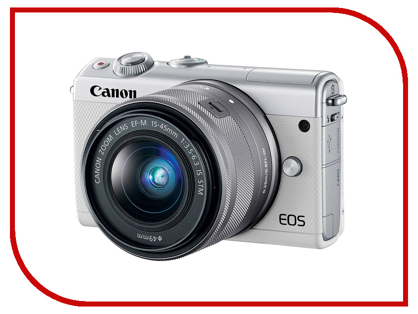 Фотоаппарат Canon EOS M100 Kit EF-M 15-45 IS STM White фотоаппарат зеркальный canon eos 200d ef s 18 55 is stm kit black