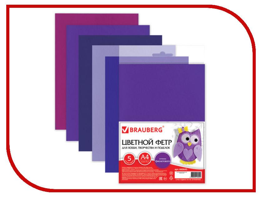 Набор Brauberg Фетр А4 210x297mm Purple 660645 brauberg purple pink 224156