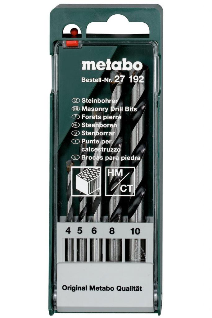 Набор сверл Metabo HM по камню 4-10mm 5шт 627192000