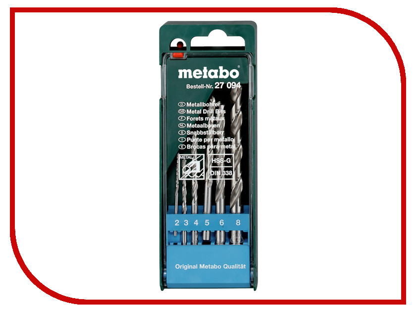 Сверло Metabo HSS-G по металлу 2-8mm 6шт 627094000