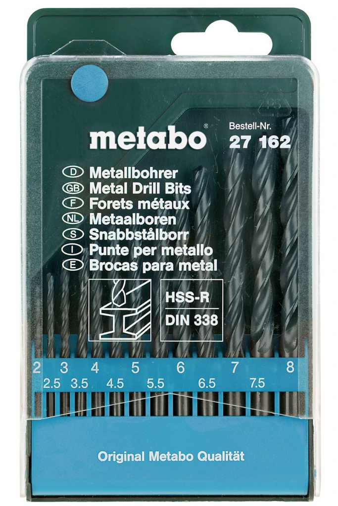 Набор сверл Metabo HSS-R по металлу 2-8mm 13шт 627162000