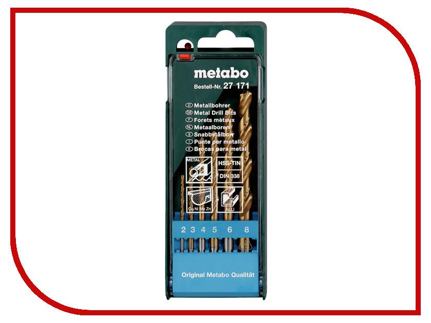 Сверло Metabo HSS-TiN по металлу 2-8mm 6шт 627171000 защита для обоев 1 местная коричневый