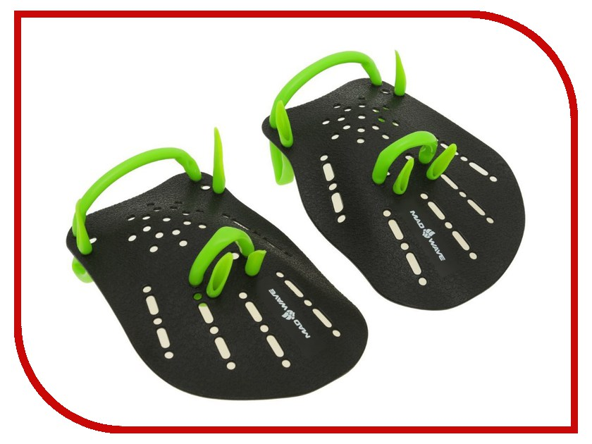 Лопатки Mad Wave Hand Paddles Размер S Black/Green M0740 01 1 00W ласты mad wave training размер 43 44 blue m0747 10 7 04w