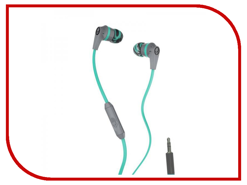 Skullcandy Ink D 2.0 In-Ear W/Mic Gray-Mint-Gray S2IKJY-528 et800 in ear headset great sound 3 5mm super bass earphones with mic for iphone samsung