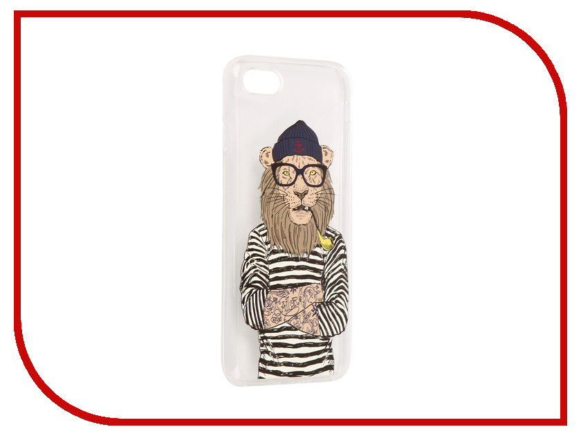 Аксессуар Чехол iPapai Hipsta Animals Лев Silicone для APPLE iPhone 7 120008_7SL