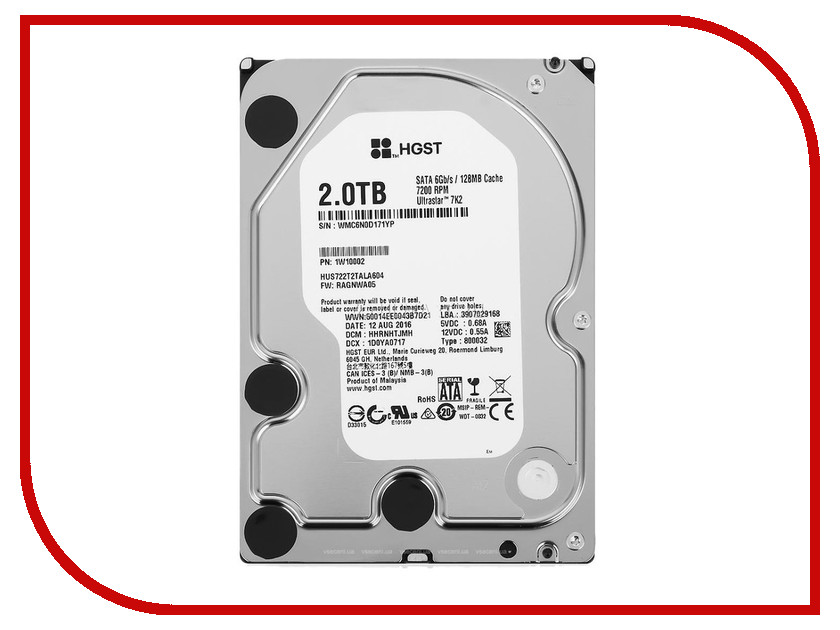 Жесткий диск 2Tb - HGST Ultrastar 7K2 HUS722T2TALA604 / 1W10002 корпус системного блока corsair graphite series 780t white cc 9011059 ww