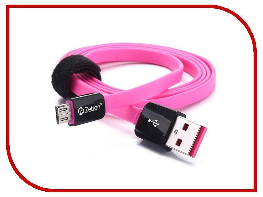 все цены на Аксессуар Zetton Lightning 8 pin Flat Micro USB Black-Pink ZTLSUSBFCMCBP онлайн