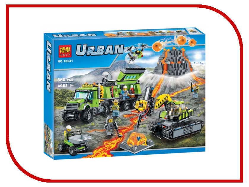Конструктор Bela Urban База исследователей вулканов 860 дет. 10641 60146 bela 10645 urban city stunt truck vehicle building blocks bricks compatible legoe toys gifts for children model